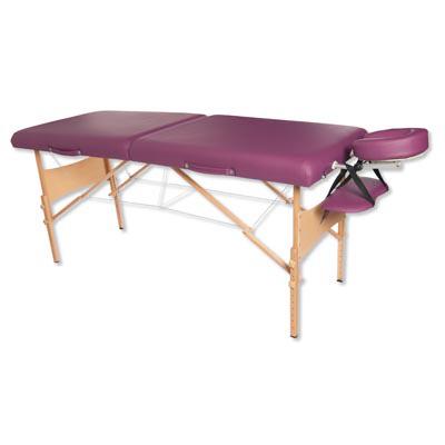 Lettino per massaggi portatile in legno, modello deluxe - bordeaux - W60612 - Attrezzature per ...