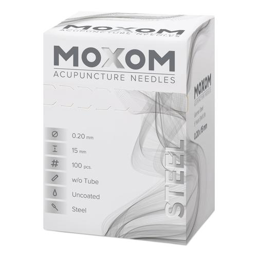 MOXOM Steel  - 0.20 x 15 mm - non siliconato - 100 aghi, 1022120, Uncoated Acupuncture Needles