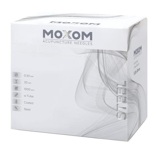 MOXOM Steel  - 0.30 x 30 mm - pacco sfuso & siliconato - 1000 aghi, 1022126, Silicone-Coated Acupuncture Needles