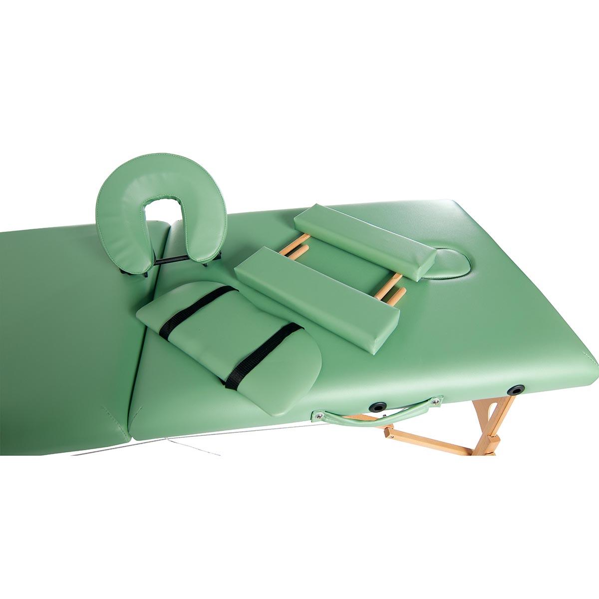Lettino per massaggi in legno, modello base - verde - W60601G - sedie e lettini per i massaggi ...